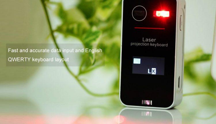 Lazerinės projekcijos virtuali klaviatūra su LCD ekranu