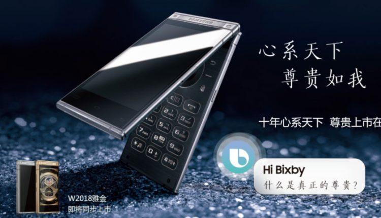 """Pristatytas galingas atlenkiamas išmanusis telefonas """"Samsung W2018"""""""