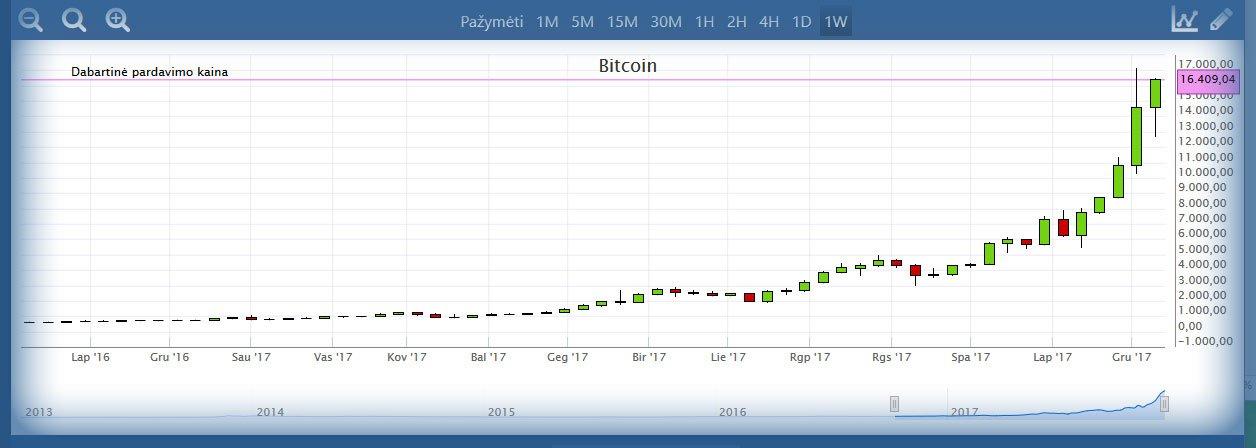 Bitcoin kainos pokyčiai per metus